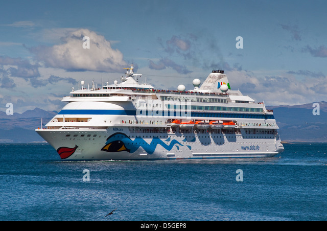 Aida Cara Cruise Ship, Beagle Channel near Ushuaia, Tierra del Fuego, Argentina - Stock Image