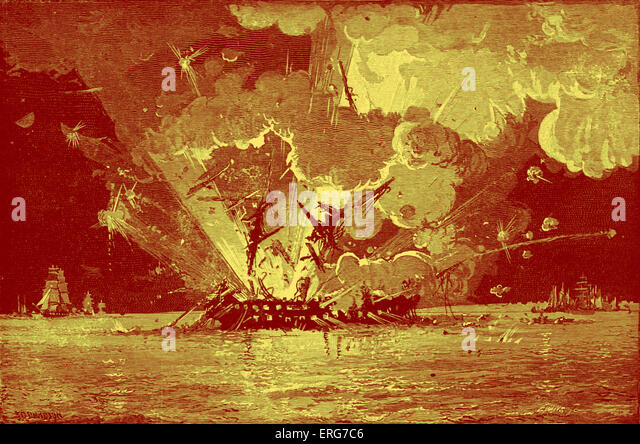 Explosion on the burning USS Congress during the Battle of Hampton Roads on 8 March, 1862. American Civil War.  - Stock Image