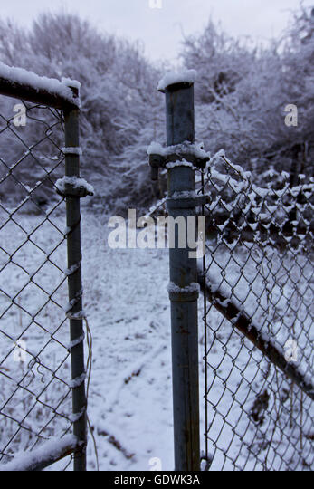 Open gate, Winter scene in Connecticut, USA - Stock Image