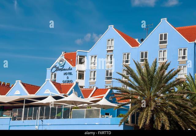 Otrobanda Hotel & Casino on St Anna Bay Willemstad Curacao - Stock Image