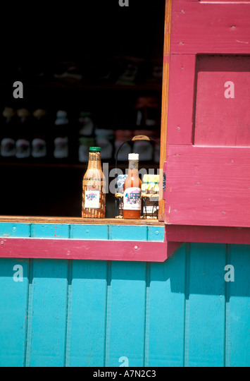 British Virgin Islands Tortola Road Town display of hot sauces - Stock Image