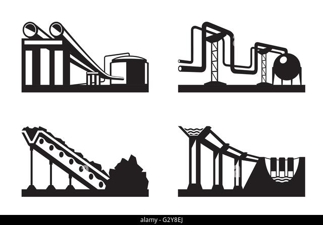 Warehouses for natural resources - vector illustration - Stock Image