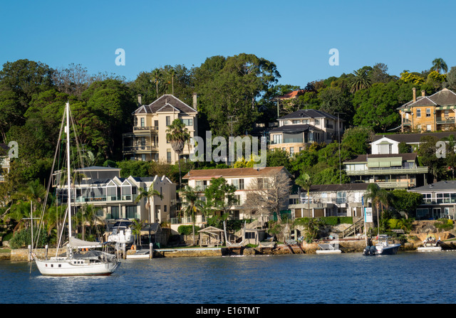 Australia NSW New South Wales Sydney Harbour harbor water waterfront homes houses Hunters Hill Parramatta River - Stock Image