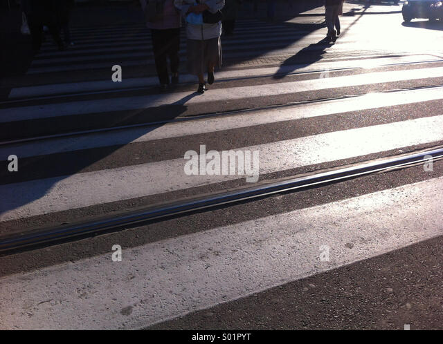Street crossing. Warsaw, Poland. - Stock-Bilder