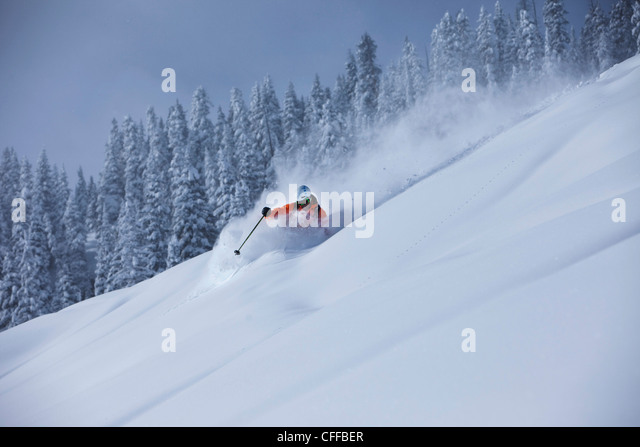 A athletic skier rips fresh deep powder turns in the backcountry on a stormy day in Colorado. - Stock Image