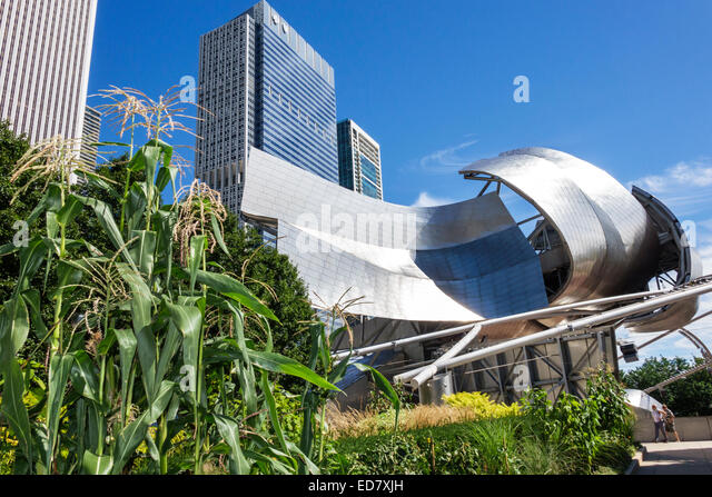 Chicago Illinois Loop Millennium Park Jay Pritzker Music Pavilion bandshell Harris Theater theatre Frank Gehry architect - Stock Image