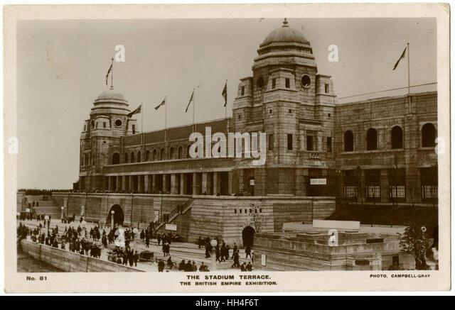 Wembley Stadium - British Empire Exhibition of 1924 - The Stadium Terrace. - Stock Image