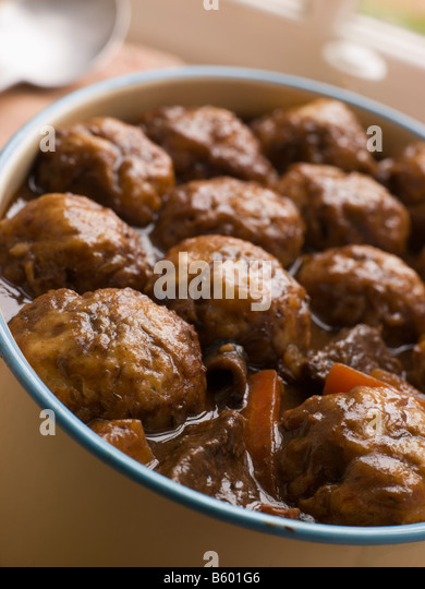 Beef Stew and Herb Dumplings - Stock Image