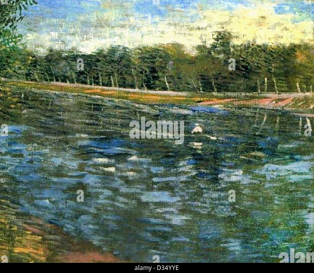 Vincent van Gogh, The Seine with a Rowing Boat . 1887. Post-Impressionism. Oil on canvas. Place of Creation: Paris, - Stock Image