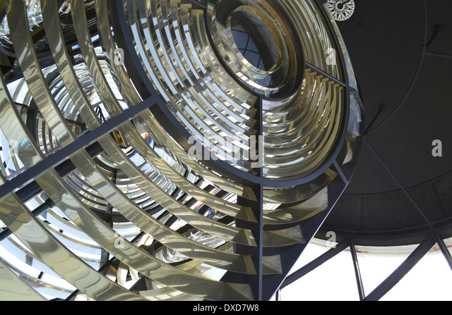 Fresnel lens on the lamp at the Lizard Lighthouse, Cornwall, England. - Stock Image