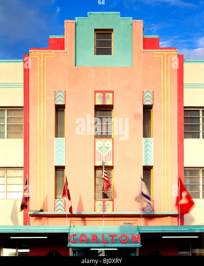 Carlton Hotel Art Deco architectural style building in the revitalized South Beach, Miami, Florida, USA - Stock Image