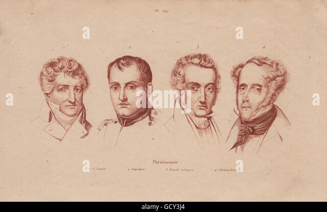 PHYSIOGNOMY: Cuvier. Napoléon. Jacques-Louis David. Chateaubriant, print 1833 - Stock-Bilder