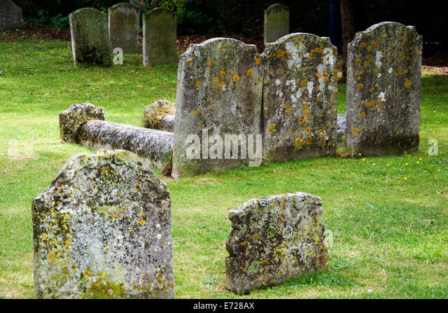 Very old, decayed graveyard somewhere in Europe. - Stock Image