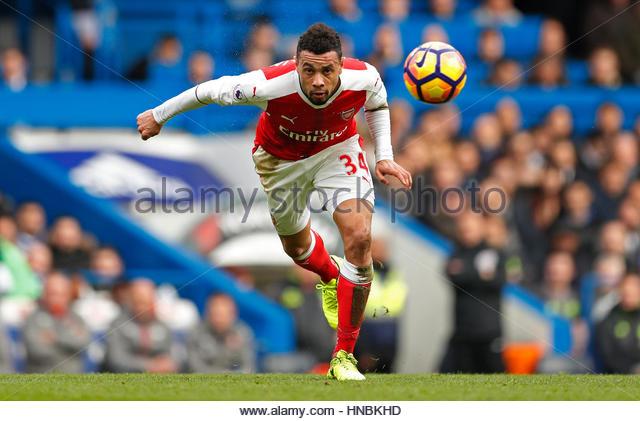 Britain Football Soccer - Chelsea v Arsenal - Premier League - Stamford Bridge - 4/2/17 Arsenal's Francis Coquelin - Stock-Bilder