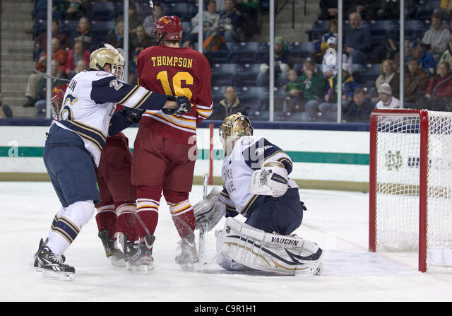 Feb. 10, 2012 - South Bend, Indiana, U.S - Notre Dame goaltender Mike Johnson (#32) looks to make the save in first - Stock Image