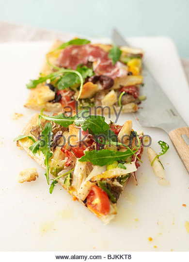 Two slices of vegetable pizza - Stock Image