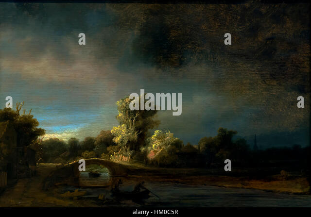 Landscape with a Stone Bridge, by Rembrandt, circa 1638, oil on panel, Rijksmuseum, Amsterdam, Netherlands, Europe, - Stock Image