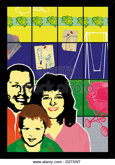 Portrait of happy family - Stock-Bilder