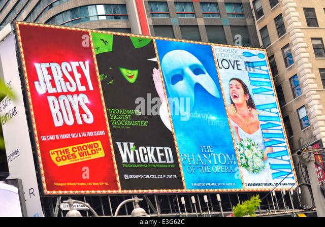 Broadway Shows Musicals Billboard, New York Manhattan - Stock Image