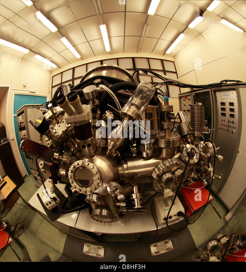 Daresbury Laboratory NCESS Dept machine, Cheshire UK - Wide fisheye view - Stock Image