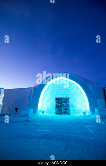 Main entrance of the Ice hotel Jukkasjarvi Sweden - Stock Image