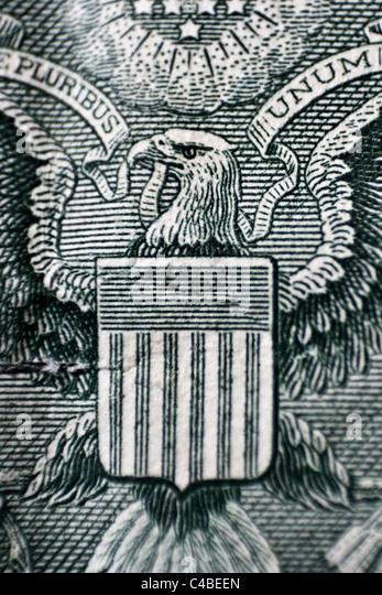 detail from the Great Seal of the United States of America from the back of an American US 1 Dollar Banknote - Stock Image