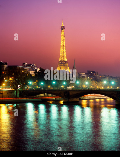 France Paris Eiffel tower Seine twilight - Stock Image