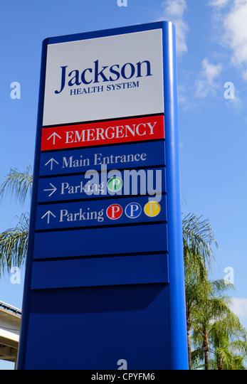 Miami Florida Jackson Health System hospital medical center centre sign directions information - Stock Image