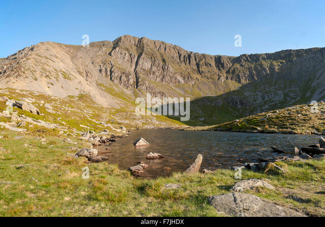 A small body of water at the foot of Cader Idris Llyn y Gadair is reached by Fox's path. A small lake surrounded - Stock Image