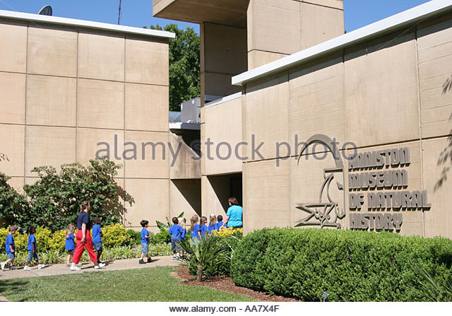 Alabama Anniston Museum of Natural History entrance students - Stock Image