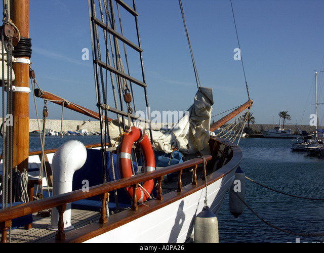 Dawn Approach is a traditional wooden sailing ship built in Scotland in 1921, now located in the marina at Fuengirola, - Stock Image