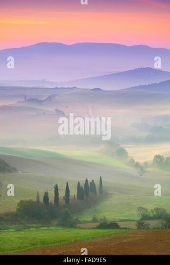 Val d'Orcia at dawn, Tuscany, Italy - Stock Image