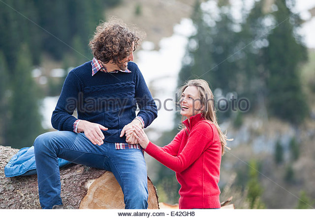 Mid adult couple laughing, Wallberg, Tegernsee, Bavaria, Germany - Stock-Bilder