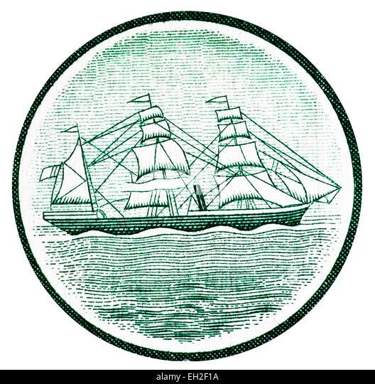 Seal of Banco Nacional Ultramarino, sailing ship from 100 escudos banknote, Mozambique, 1961 - Stock Image