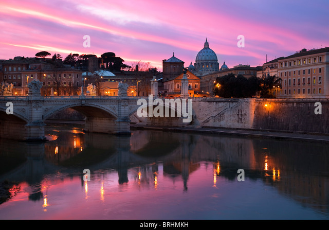 Rome, Vitorrio Emanuele II Bridge and Vatican City - Stock Image