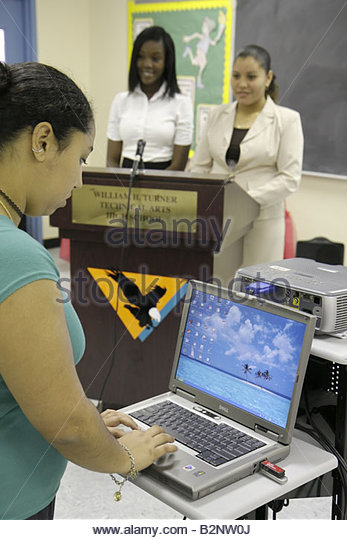 Miami Florida Liberty City William Turner Technical Arts High School Annual Business Plan Competition presentation - Stock Image