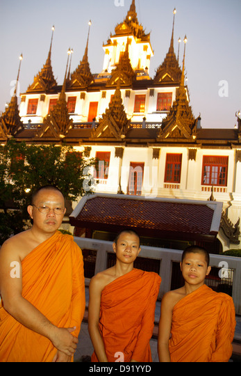 Thailand Bangkok Phra Nakhon Wat Ratchanatdaram Buddhist temple Loha Prasat Maha Chetsadabodin Pavilion Rattanakosin - Stock Image