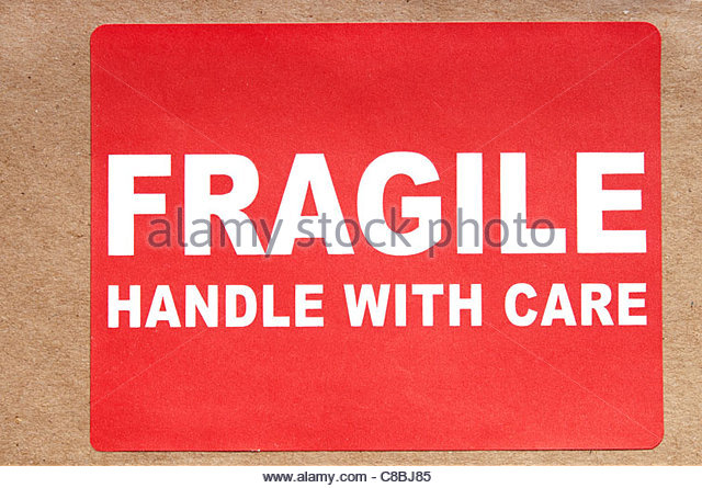 fragile label on a package - Stock Image