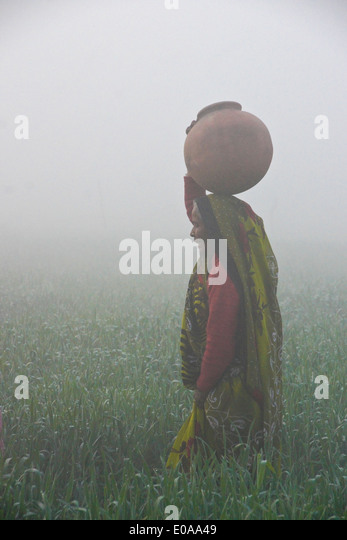 Woman in sari carrying water on a foggy morning in India - Stock-Bilder