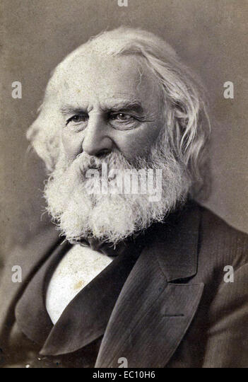 Henry Wadsworth Longfellow American poet and educator 'Paul Revere's Ride' The Song of Hiawatha Evangeline - Stock Image