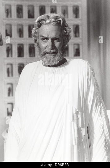Laurence Olivier (1907-1989) English actor, producer and director. Still of Olivier as the god Zeus from the 1981 - Stock Image