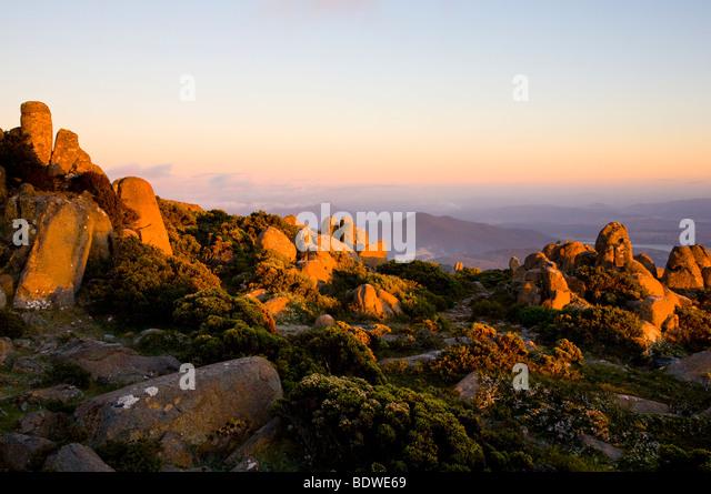 Dawn on the summit of Mount Wellington, Tasmania, Australia - Stock Image
