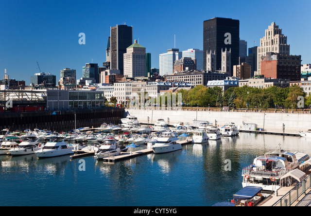 Montreal Skyline and Harbor, Quebec, Canada - Stock Image