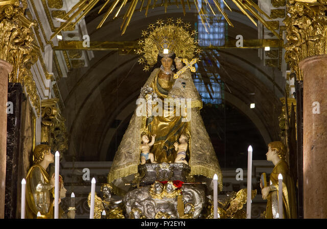 Statue of the lady of the Forsaken at the Virgen de los Desamparados Basilica Valencia Spain - Stock Image