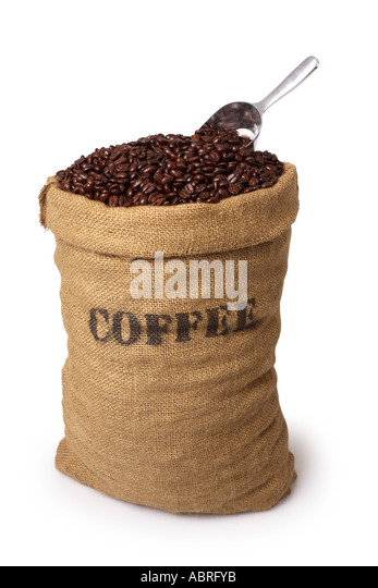 Burlap sack of coffee beans with scoop - Stock Image