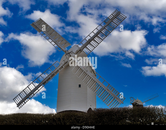 Jack and Jill up the hill: windmills on Clayton Hill, South Downs, near Brighton, Sussex, UK - Stock Image