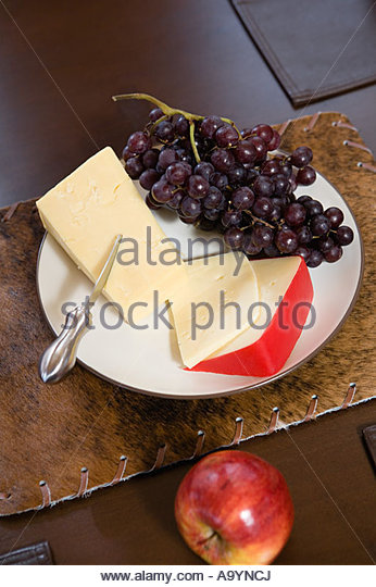 Cheese and fruit - Stock Image