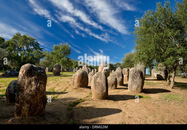Portugal, the Alentejo, Evora, Cromeleque dos Almendres, Evora - Stock Image