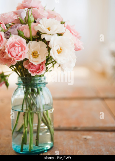 Jar of flowers - Stock Image