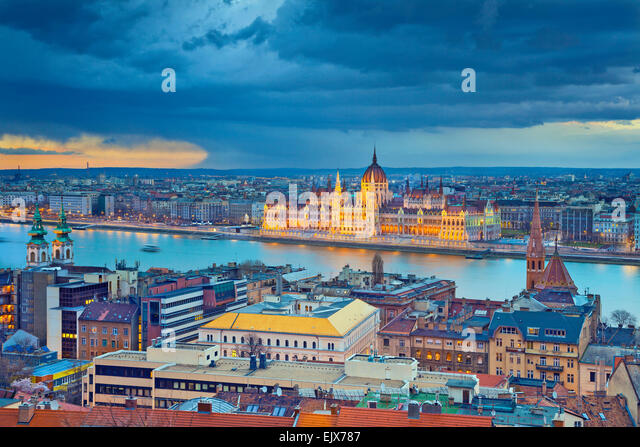 Budapest. Stormy weather over Budapest, capital city of Hungary. - Stock Image